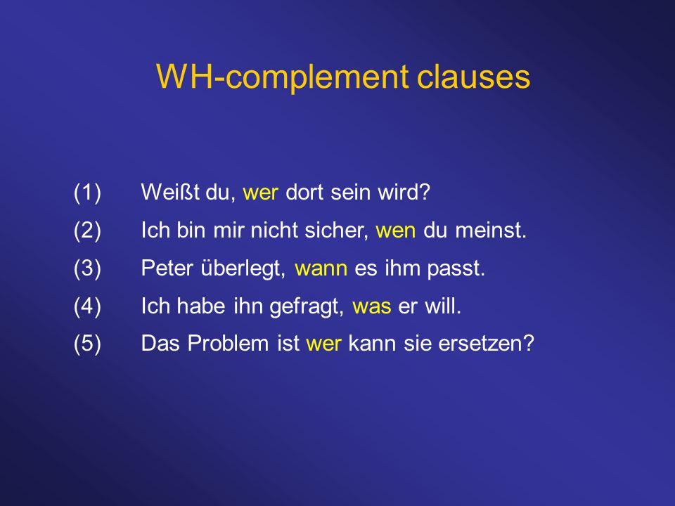 WH-complement clauses (1)Weißt du, wer dort sein wird? (2)Ich bin mir nicht sicher, wen du meinst. (3)Peter überlegt, wann es ihm passt. (4)Ich habe i