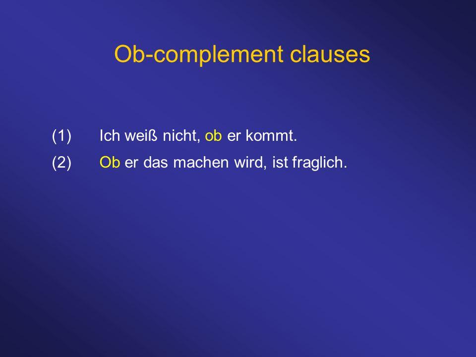 Ob-complement clauses (1)Ich weiß nicht, ob er kommt. (2)Ob er das machen wird, ist fraglich.
