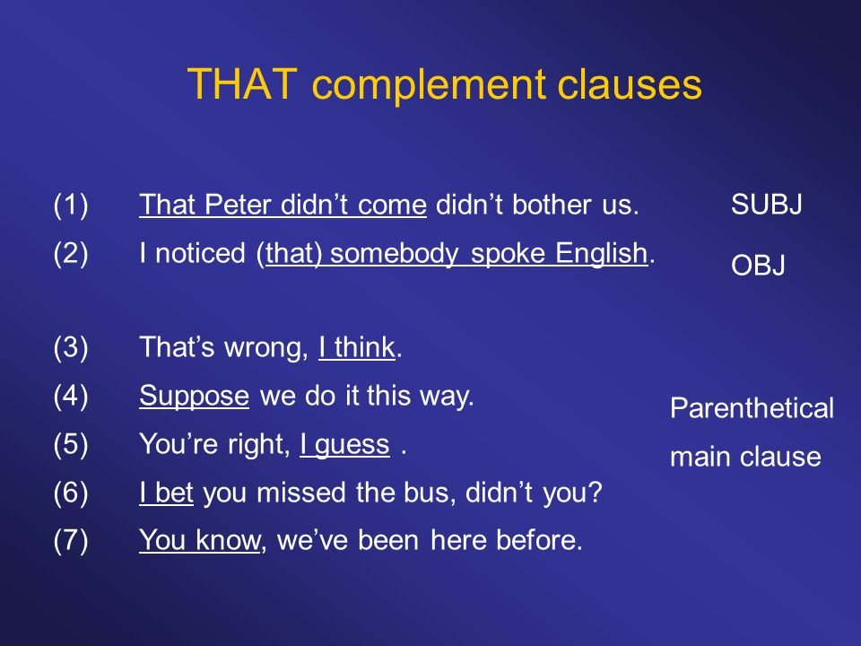 THAT complement clauses (1)That Peter didnt come didnt bother us.