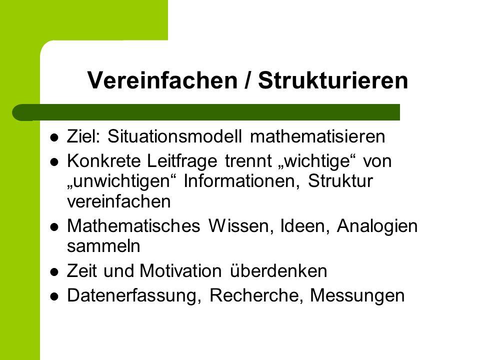Vereinfachen / Strukturieren Ziel: Situationsmodell mathematisieren Konkrete Leitfrage trennt wichtige von unwichtigen Informationen, Struktur vereinf