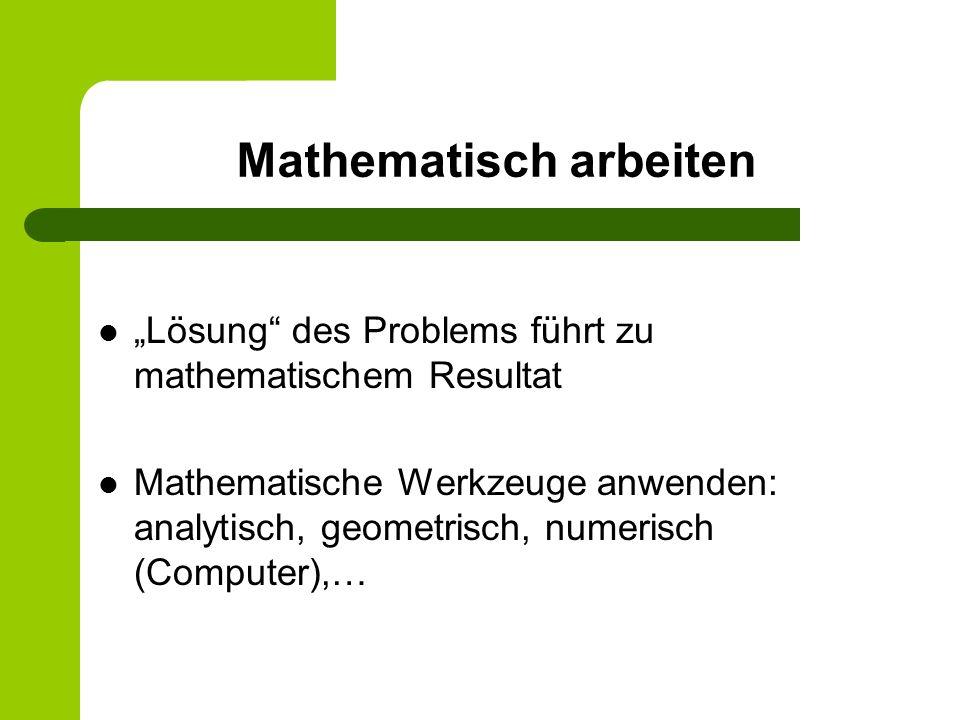 Mathematisch arbeiten Lösung des Problems führt zu mathematischem Resultat Mathematische Werkzeuge anwenden: analytisch, geometrisch, numerisch (Compu