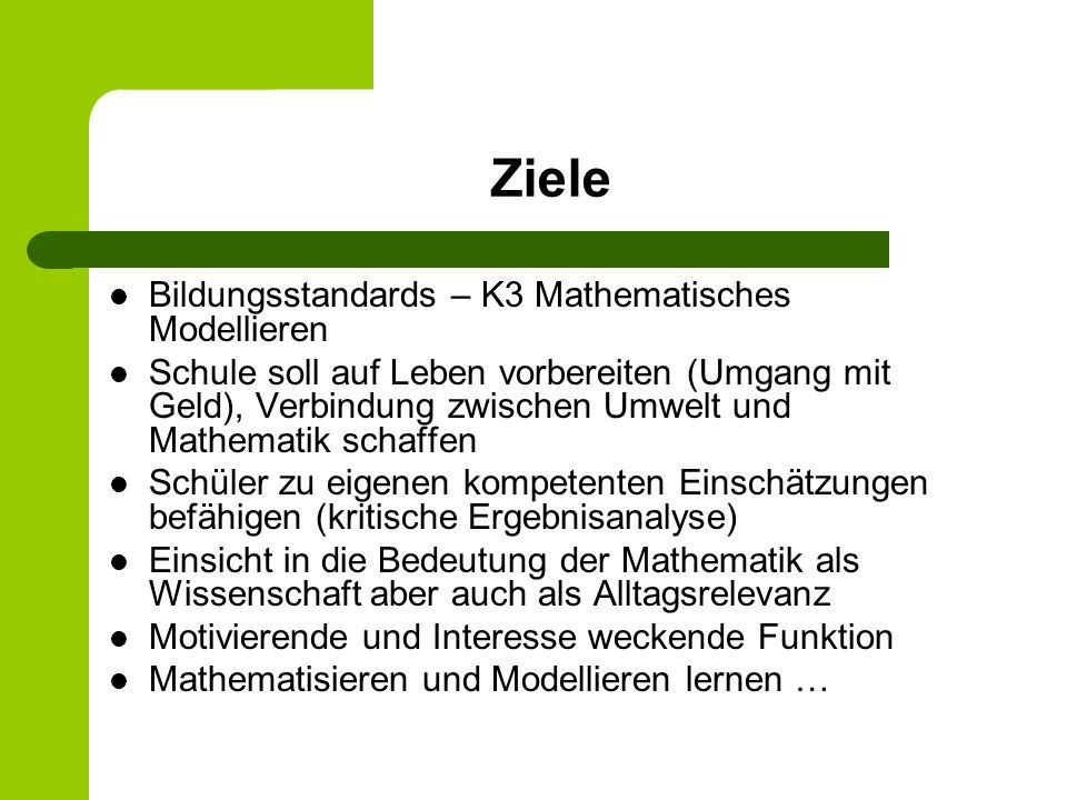 Ziele Bildungsstandards – K3 Mathematisches Modellieren Schule soll auf Leben vorbereiten (Umgang mit Geld), Verbindung zwischen Umwelt und Mathematik