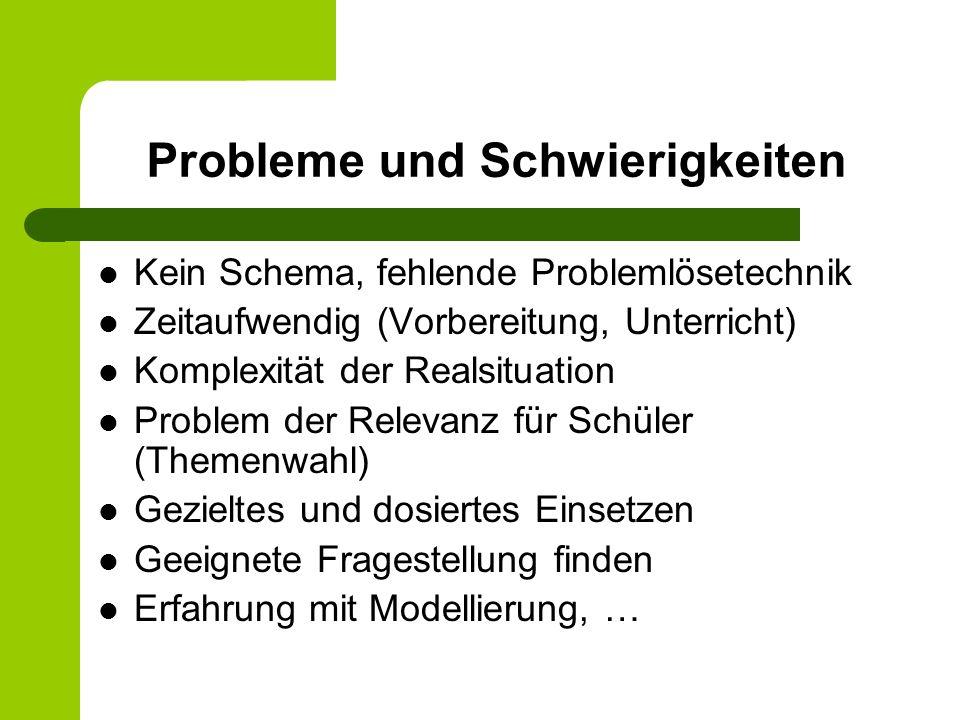 Probleme und Schwierigkeiten Kein Schema, fehlende Problemlösetechnik Zeitaufwendig (Vorbereitung, Unterricht) Komplexität der Realsituation Problem d