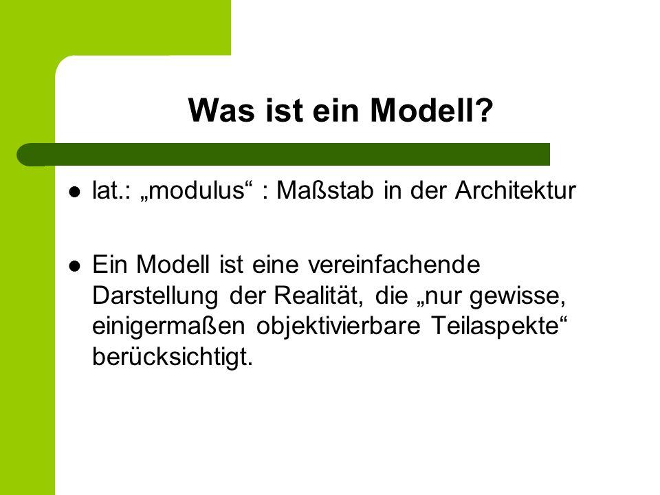 Was ist ein Modell? lat.: modulus : Maßstab in der Architektur Ein Modell ist eine vereinfachende Darstellung der Realität, die nur gewisse, einigerma