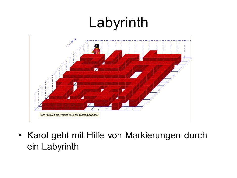 Labyrinth Karol geht mit Hilfe von Markierungen durch ein Labyrinth