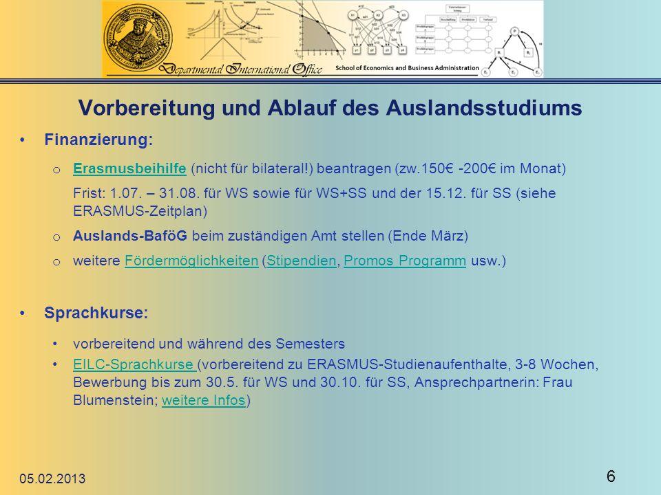 Vorbereitung und Ablauf des Auslandsstudiums Beurlaubungsantrag: Es können maximal 2 Urlaubssemester beantragt werden.