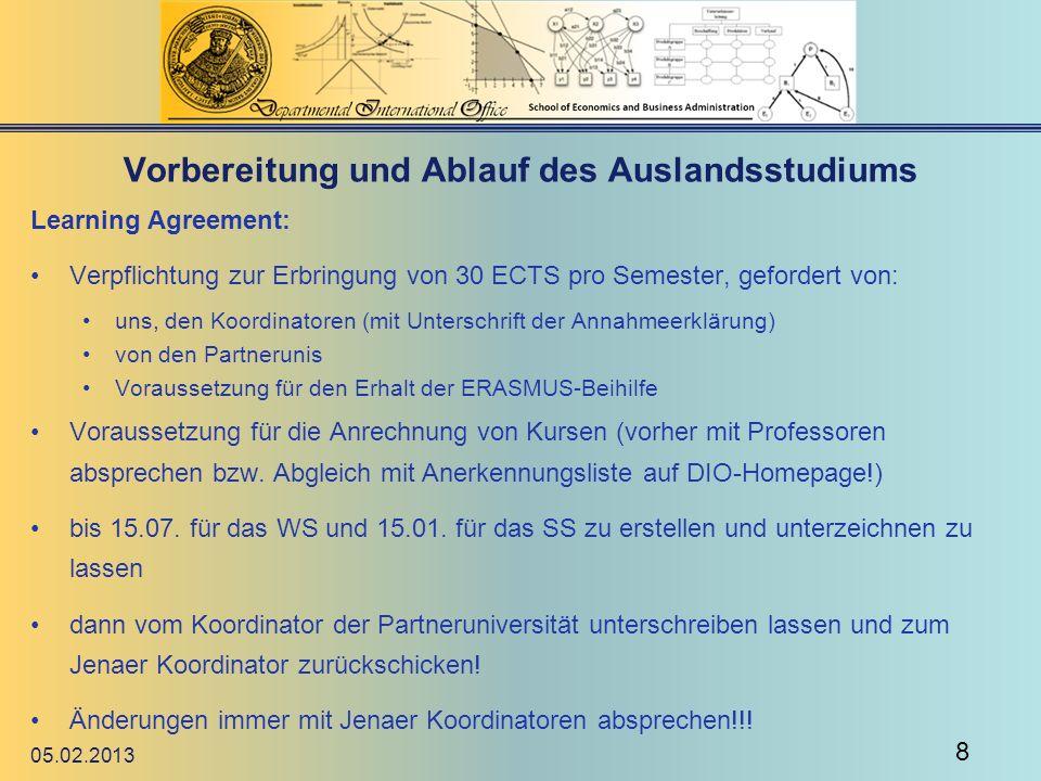 Vorbereitung und Ablauf des Auslandsstudiums Intercampus-Plattform (Terminüberblick, Fristen, To-Do-Liste usw.) hier hier Fahrplan bzw.