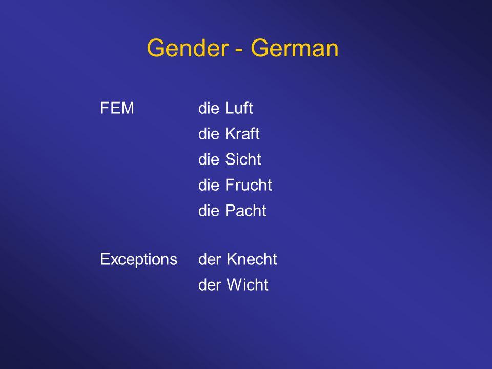 Gender - German FEMdie Luft die Kraft die Sicht die Frucht die Pacht Exceptionsder Knecht der Wicht