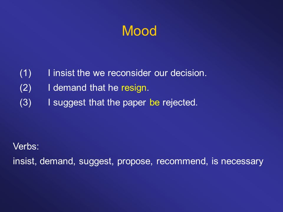 Mood (1)I insist the we reconsider our decision. (2)I demand that he resign. (3)I suggest that the paper be rejected. Verbs: insist, demand, suggest,