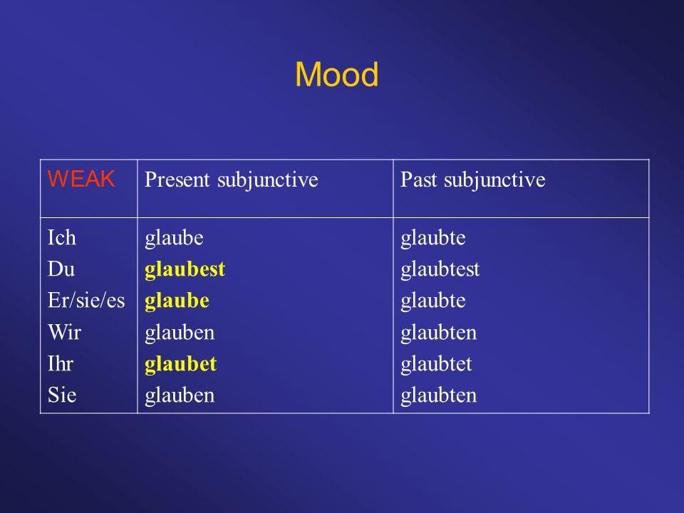 Mood WEAK Present subjunctivePast subjunctive Ich Du Er/sie/es Wir Ihr Sie glaube glaubest glaube glauben glaubet glauben glaubte glaubtest glaubte gl