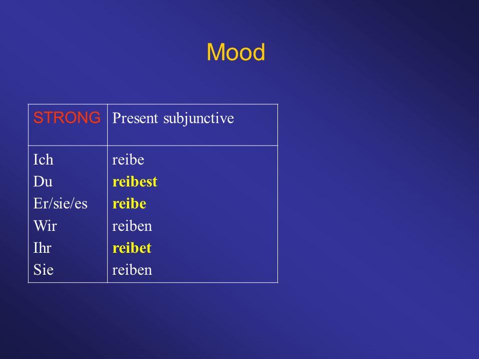 Mood STRONG Present subjunctive Ich Du Er/sie/es Wir Ihr Sie reibe reibest reibe reiben reibet reiben