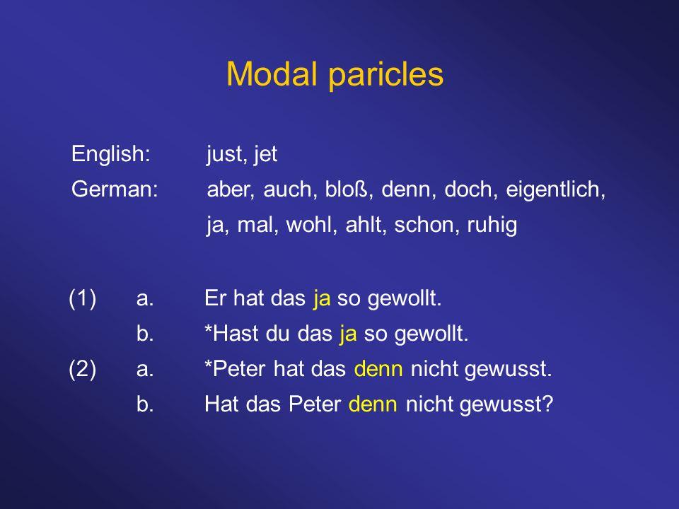 Modal paricles English:just, jet German:aber, auch, bloß, denn, doch, eigentlich, ja, mal, wohl, ahlt, schon, ruhig (1)a.Er hat das ja so gewollt. b.*