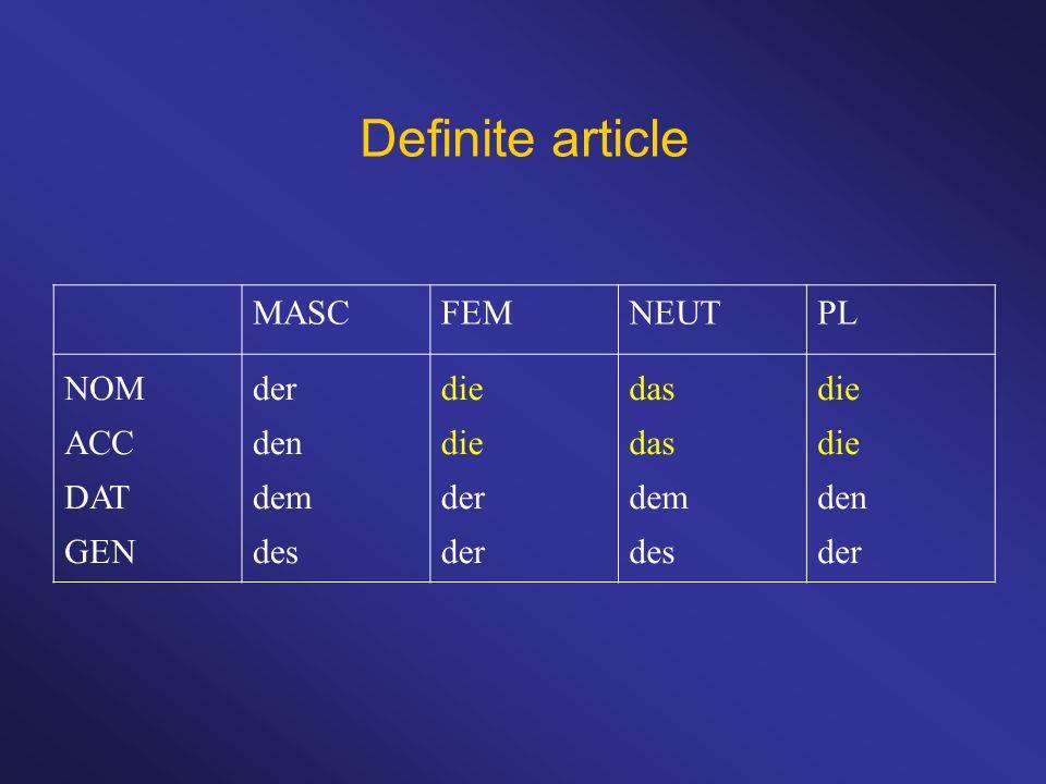 Definite article MASCFEMNEUTPL NOM ACC DAT GEN der den dem des die der das dem des die den der