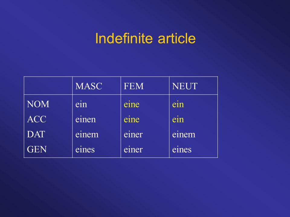 Indefinite article MASCFEMNEUT NOM ACC DAT GEN ein einen einem eines eine einer ein einem eines