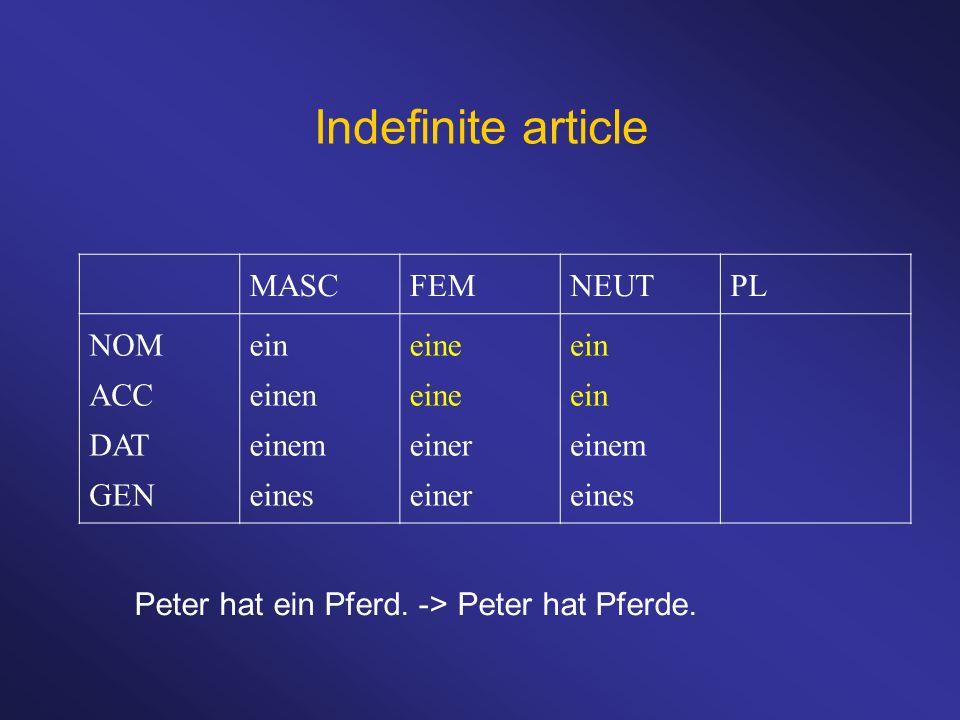 Indefinite article MASCFEMNEUTPL NOM ACC DAT GEN ein einen einem eines eine einer ein einem eines Peter hat ein Pferd. -> Peter hat Pferde.