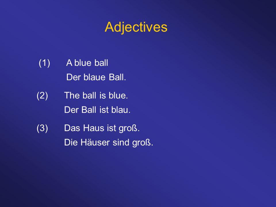 Adjectives (1)A blue ball Der blaue Ball. (3)Das Haus ist groß. Die Häuser sind groß. (2)The ball is blue. Der Ball ist blau.
