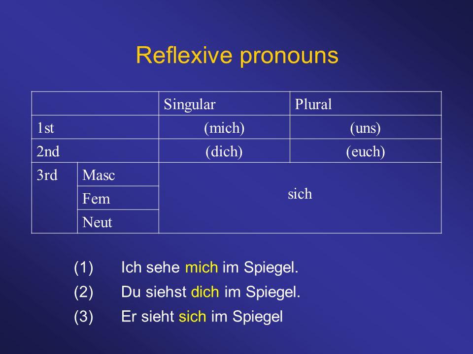 Reflexive pronouns (1)Ich sehe mich im Spiegel. (2)Du siehst dich im Spiegel. (3)Er sieht sich im Spiegel SingularPlural 1st(mich)(uns) 2nd(dich)(euch