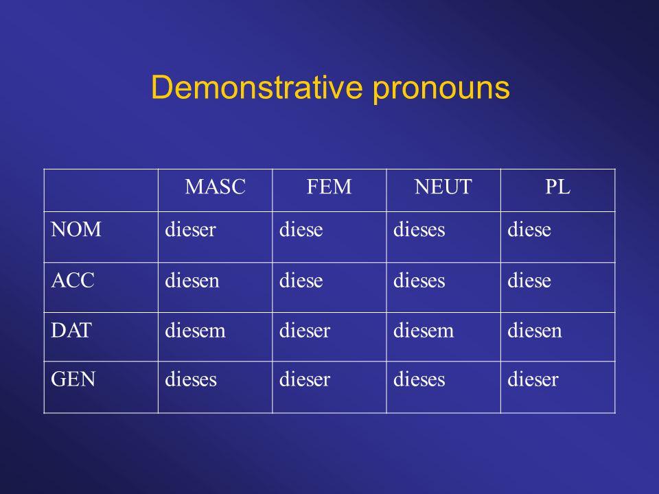 Demonstrative pronouns MASCFEMNEUTPL NOMdieserdiesediesesdiese ACCdiesendiesediesesdiese DATdiesemdieserdiesemdiesen GENdiesesdieserdiesesdieser
