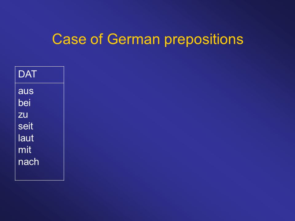 Case of German prepositions DAT aus bei zu seit laut mit nach