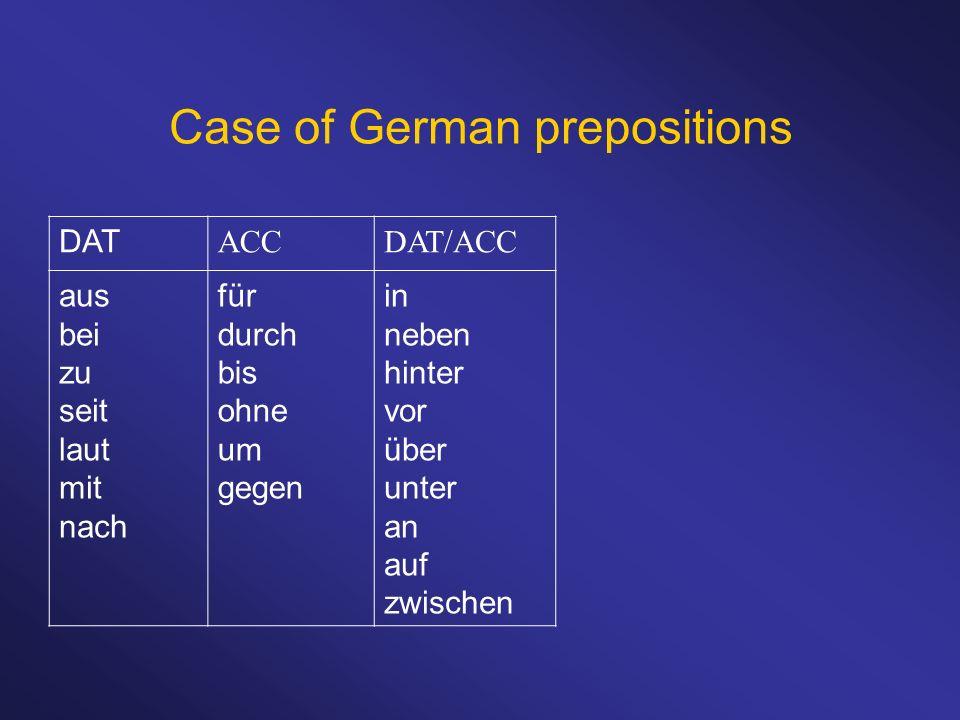 Case of German prepositions DAT ACCDAT/ACC aus bei zu seit laut mit nach für durch bis ohne um gegen in neben hinter vor über unter an auf zwischen