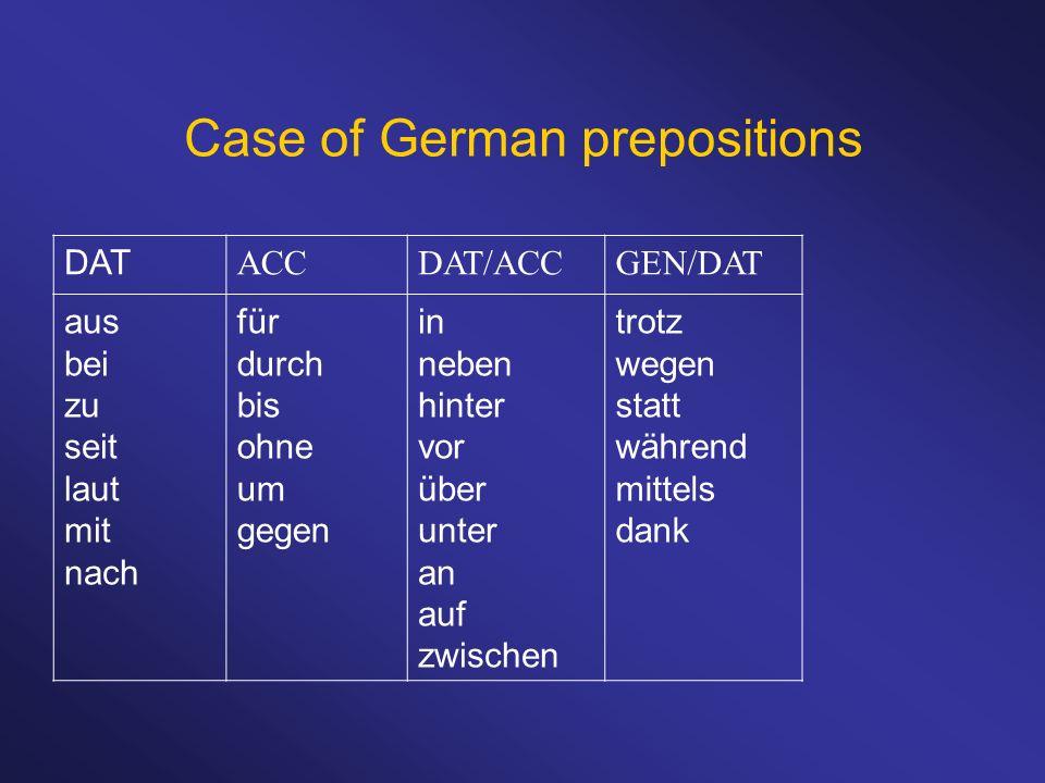 Case of German prepositions DAT ACCDAT/ACCGEN/DAT aus bei zu seit laut mit nach für durch bis ohne um gegen in neben hinter vor über unter an auf zwis