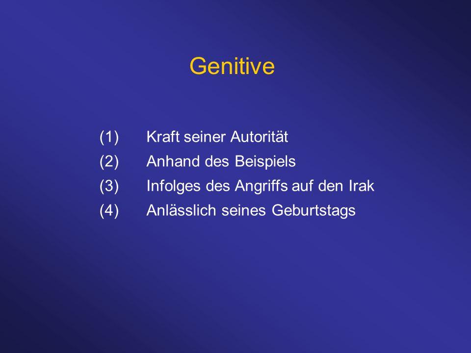Genitive (1)Kraft seiner Autorität (2)Anhand des Beispiels (3)Infolges des Angriffs auf den Irak (4)Anlässlich seines Geburtstags