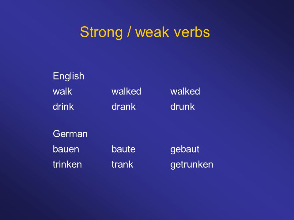 Strong / weak verbs English walkwalkedwalked drinkdrankdrunk German bauenbautegebaut trinkentrankgetrunken