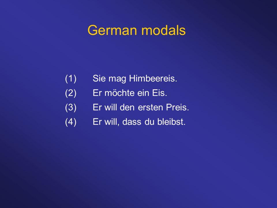 German modals (1)Sie mag Himbeereis. (2)Er möchte ein Eis. (3)Er will den ersten Preis. (4)Er will, dass du bleibst.