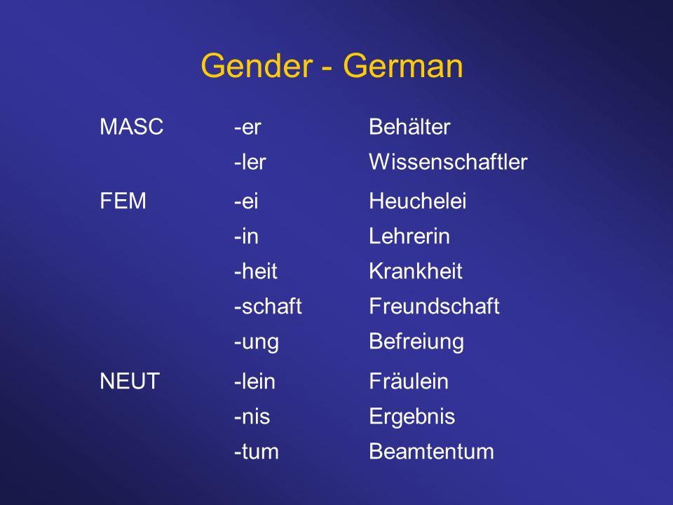 Gender - German MASC-erBehälter -lerWissenschaftler FEM-eiHeuchelei -inLehrerin -heitKrankheit -schaftFreundschaft -ungBefreiung NEUT-leinFräulein -ni