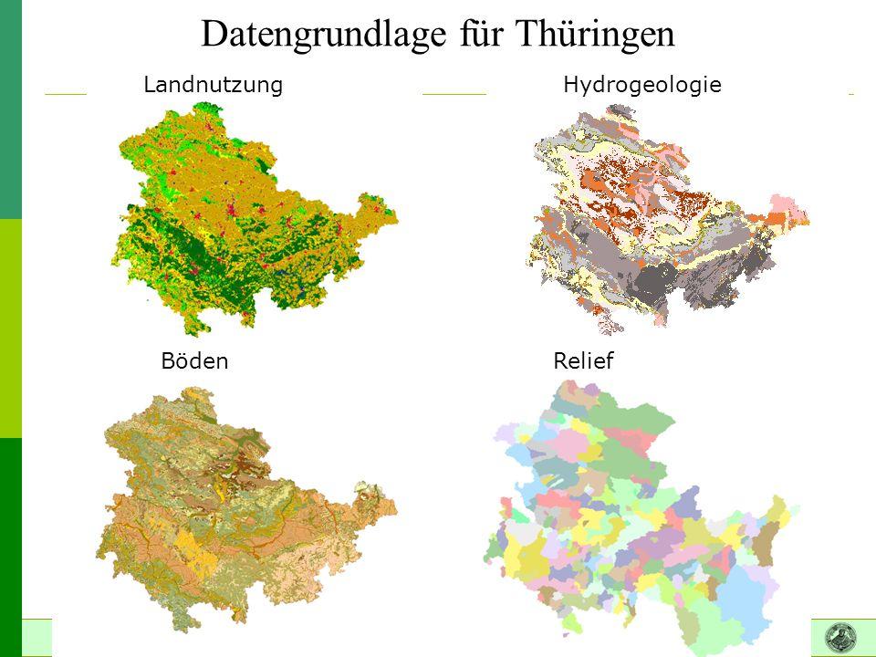 Datengrundlage für Thüringen Landnutzung Hydrogeologie BödenRelief
