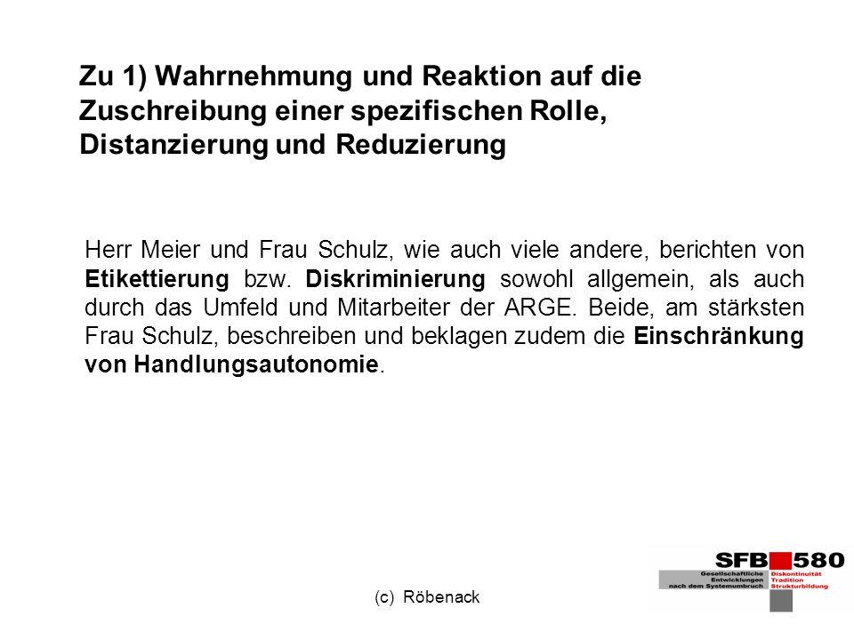 (c) Röbenack Zu 1) Wahrnehmung und Reaktion auf die Zuschreibung einer spezifischen Rolle, Distanzierung und Reduzierung Herr Meier und Frau Schulz, wie auch viele andere, berichten von Etikettierung bzw.
