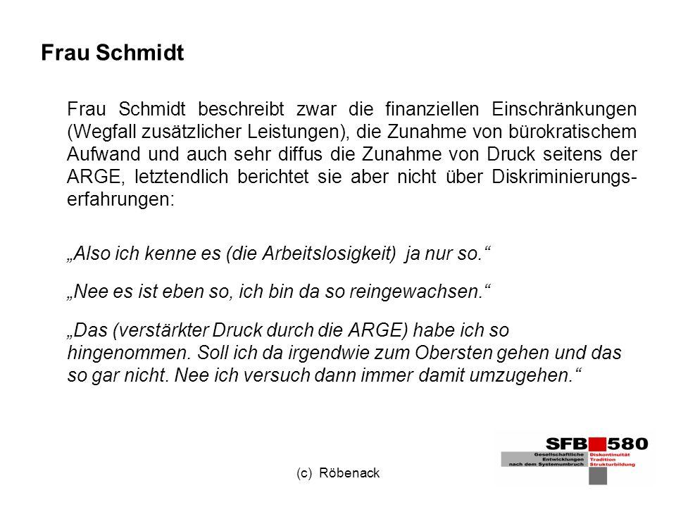 (c) Röbenack Frau Schmidt Frau Schmidt beschreibt zwar die finanziellen Einschränkungen (Wegfall zusätzlicher Leistungen), die Zunahme von bürokratischem Aufwand und auch sehr diffus die Zunahme von Druck seitens der ARGE, letztendlich berichtet sie aber nicht über Diskriminierungs- erfahrungen: Also ich kenne es (die Arbeitslosigkeit) ja nur so.