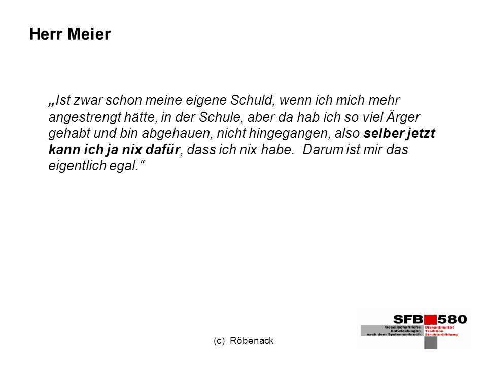 (c) Röbenack Herr Meier Ist zwar schon meine eigene Schuld, wenn ich mich mehr angestrengt hätte, in der Schule, aber da hab ich so viel Ärger gehabt und bin abgehauen, nicht hingegangen, also selber jetzt kann ich ja nix dafür, dass ich nix habe.