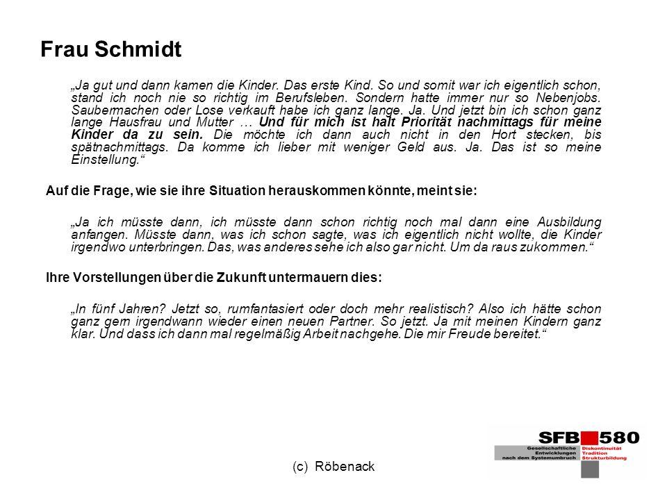 (c) Röbenack Frau Schmidt Ja gut und dann kamen die Kinder.