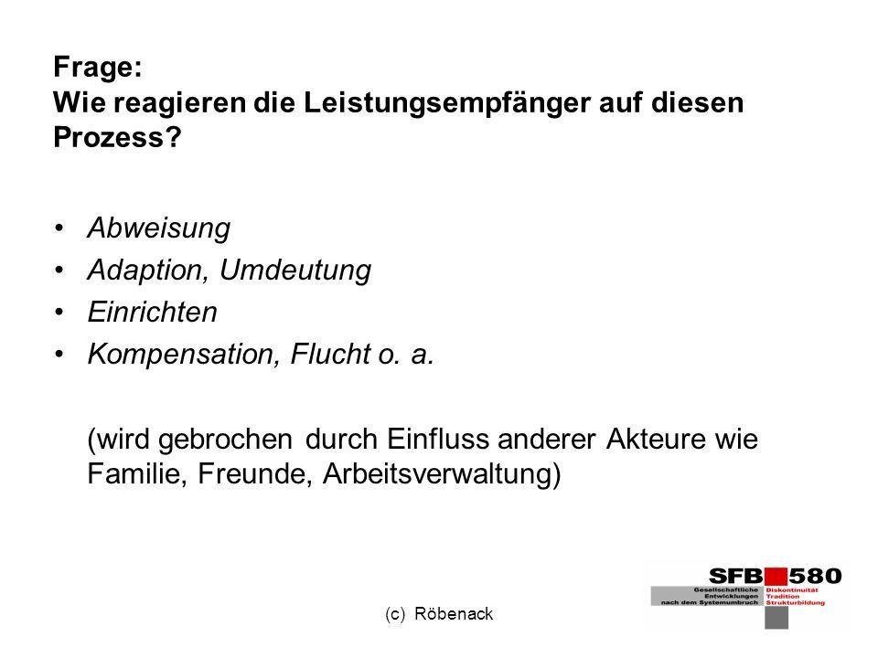 (c) Röbenack Frage: Wie reagieren die Leistungsempfänger auf diesen Prozess.