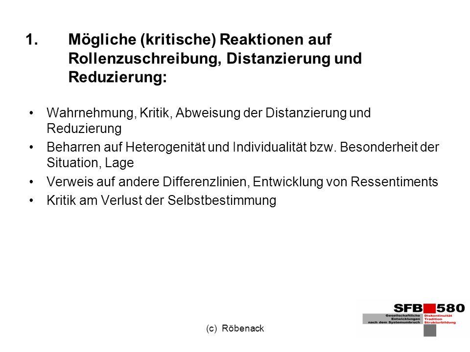 (c) Röbenack 1.Mögliche (kritische) Reaktionen auf Rollenzuschreibung, Distanzierung und Reduzierung: Wahrnehmung, Kritik, Abweisung der Distanzierung und Reduzierung Beharren auf Heterogenität und Individualität bzw.