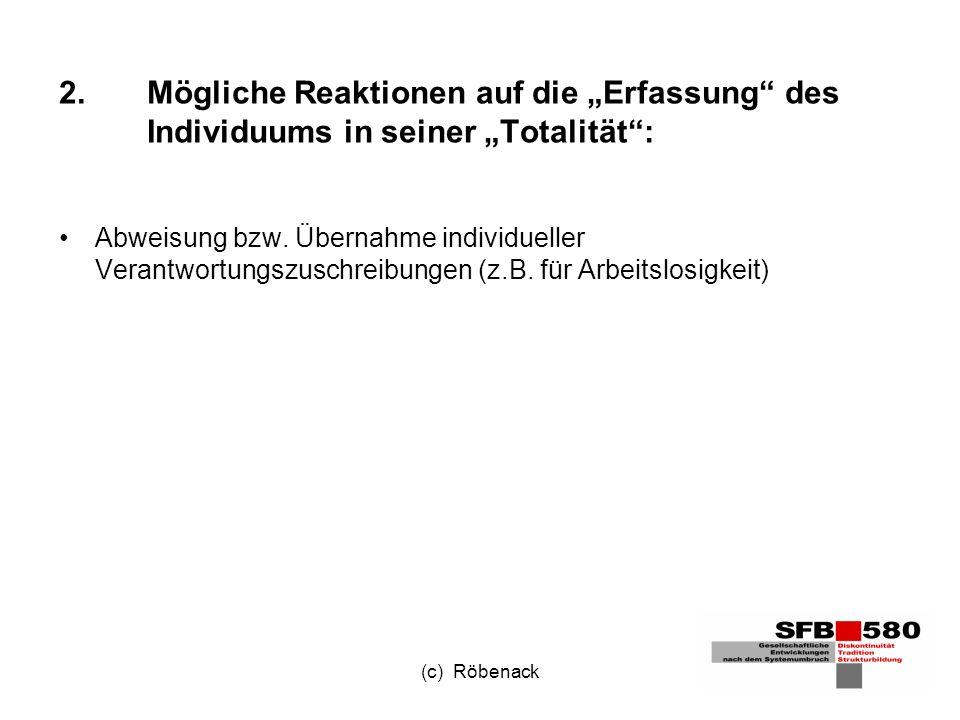 (c) Röbenack 2.Mögliche Reaktionen auf die Erfassung des Individuums in seiner Totalität: Abweisung bzw.