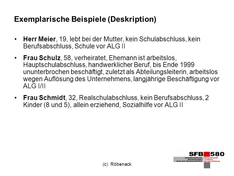 (c) Röbenack Exemplarische Beispiele (Deskription) Herr Meier, 19, lebt bei der Mutter, kein Schulabschluss, kein Berufsabschluss, Schule vor ALG II Frau Schulz, 58, verheiratet, Ehemann ist arbeitslos, Hauptschulabschluss, handwerklicher Beruf, bis Ende 1999 ununterbrochen beschäftigt, zuletzt als Abteilungsleiterin, arbeitslos wegen Auflösung des Unternehmens, langjährige Beschäftigung vor ALG I/II Frau Schmidt, 32, Realschulabschluss, kein Berufsabschluss, 2 Kinder (8 und 5), allein erziehend, Sozialhilfe vor ALG II