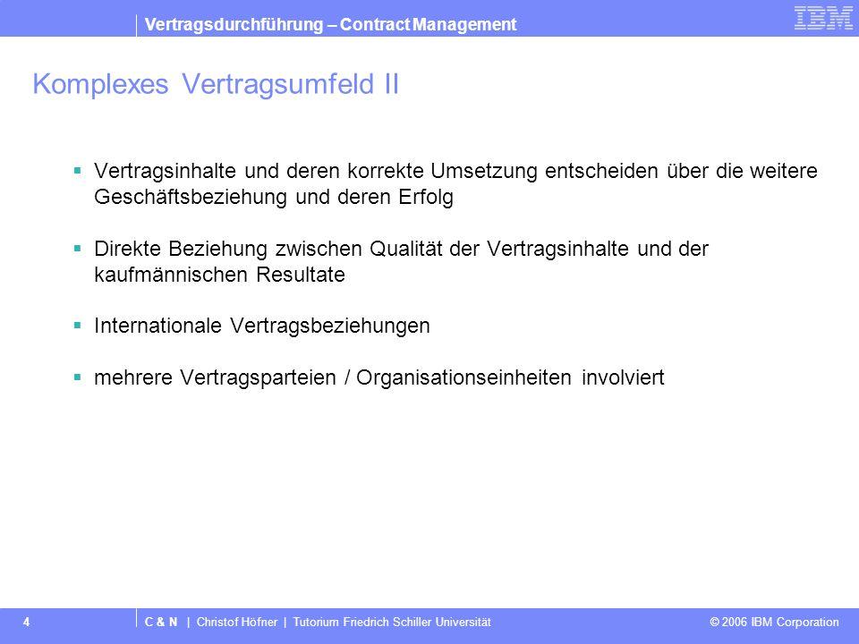 C & N | Christof Höfner | Tutorium Friedrich Schiller Universität © 2006 IBM Corporation IBM logo must not be moved, added to, or altered in any way.