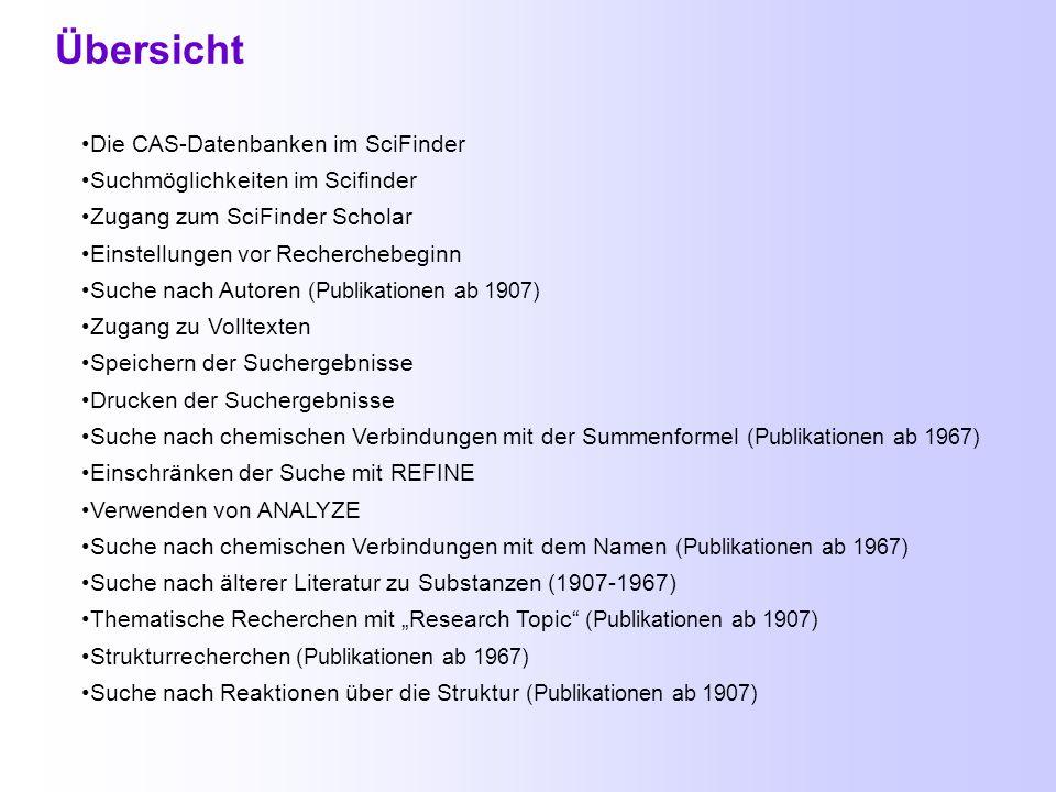 Scifinder Scholar Scifinder Scholar Scifinder Scholar Heike Göbel, Informationsvermittlungsstelle der Chemisch-Geowissenschaftlichen Fakultät, April 2003
