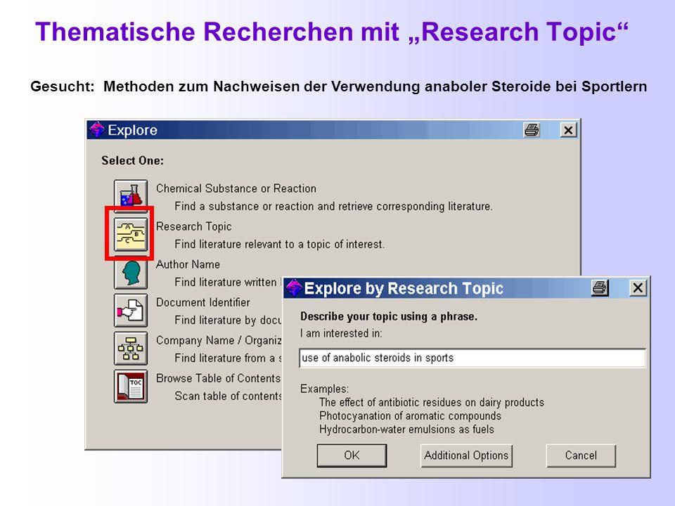 Häufige Fehler bei Suche mit Explore by Research Topic Beim Suchstart werden zu spezielle Fragen gestellt.