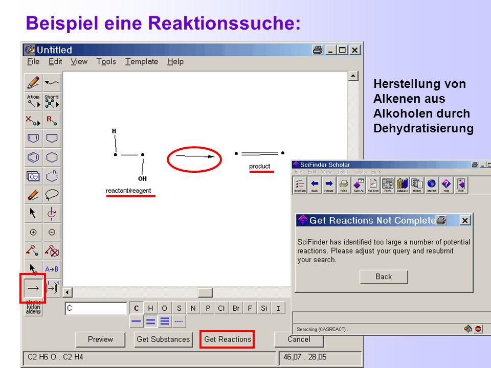 Hilfen beim Zeichnen von Reaktionen Die Strukturen für Reaktionssuche-Anfragen werden mit den schon beschriebenen Hilfsmitteln generiert.