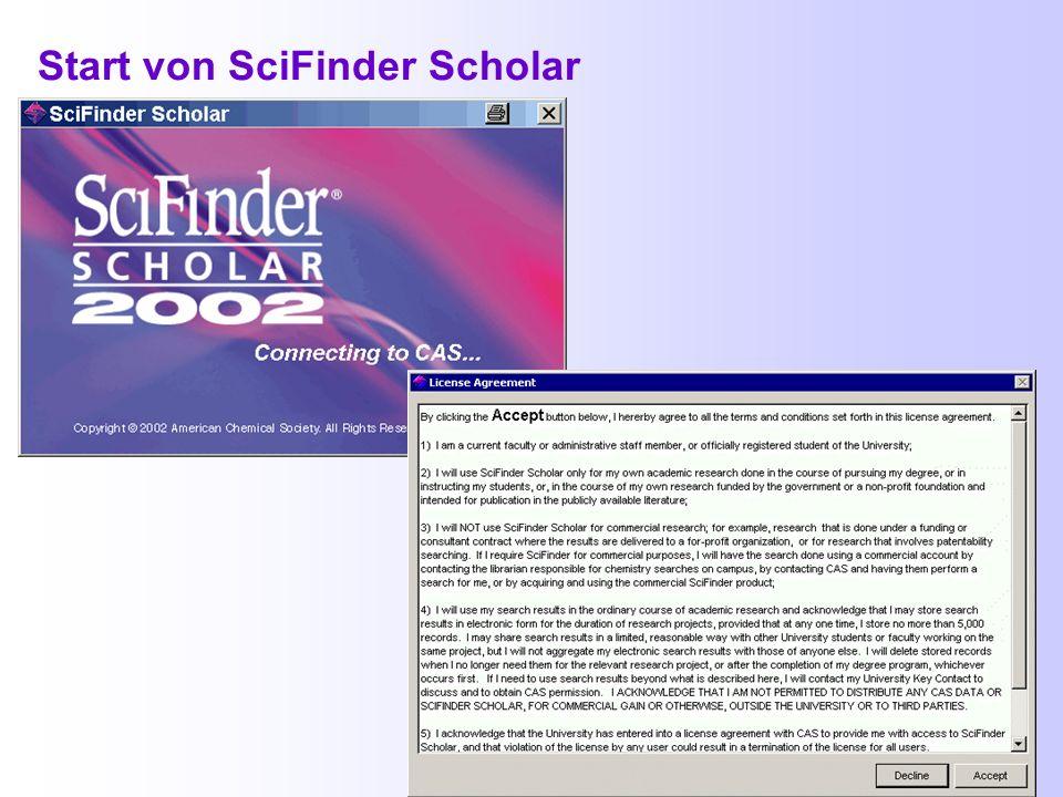 Zugang zum SciFinder (3) Über die Alphabetische oder Systematische Übersicht der Fachdatenbanken der ThULB: http://www.uni-jena.de/thulb