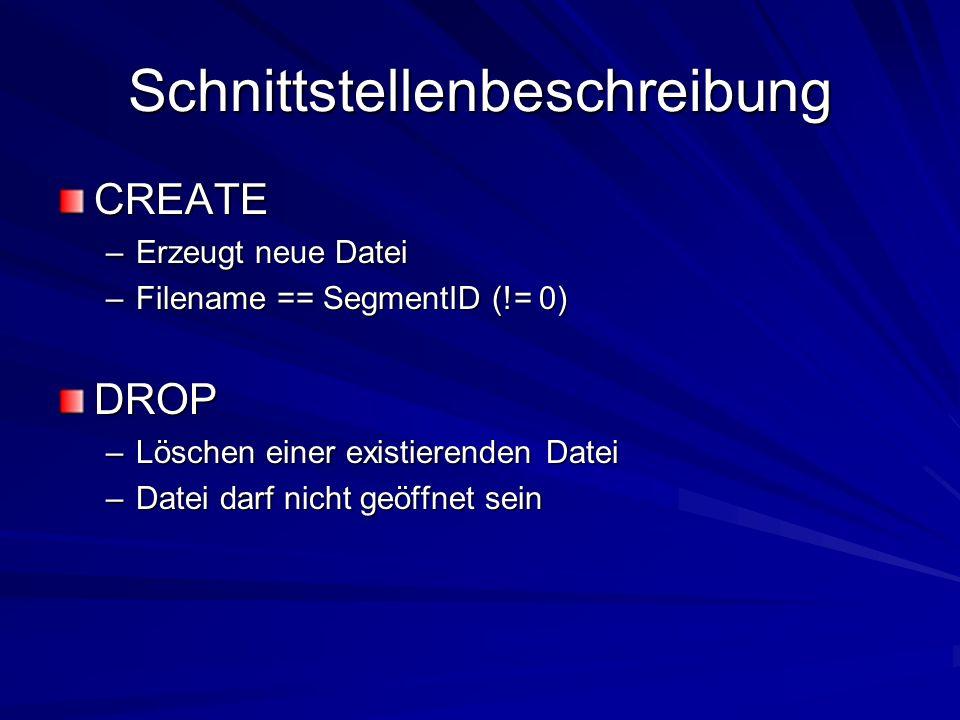 Schnittstellenbeschreibung CREATE –Erzeugt neue Datei –Filename == SegmentID (!= 0) DROP –Löschen einer existierenden Datei –Datei darf nicht geöffnet sein