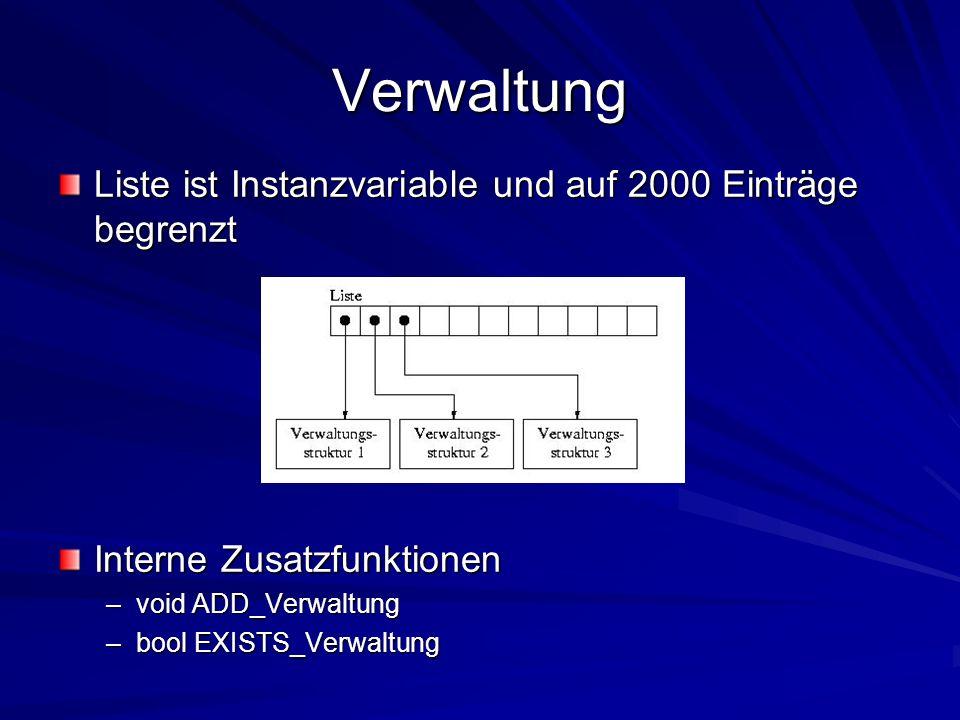 Verwaltung Liste ist Instanzvariable und auf 2000 Einträge begrenzt Interne Zusatzfunktionen –void ADD_Verwaltung –bool EXISTS_Verwaltung