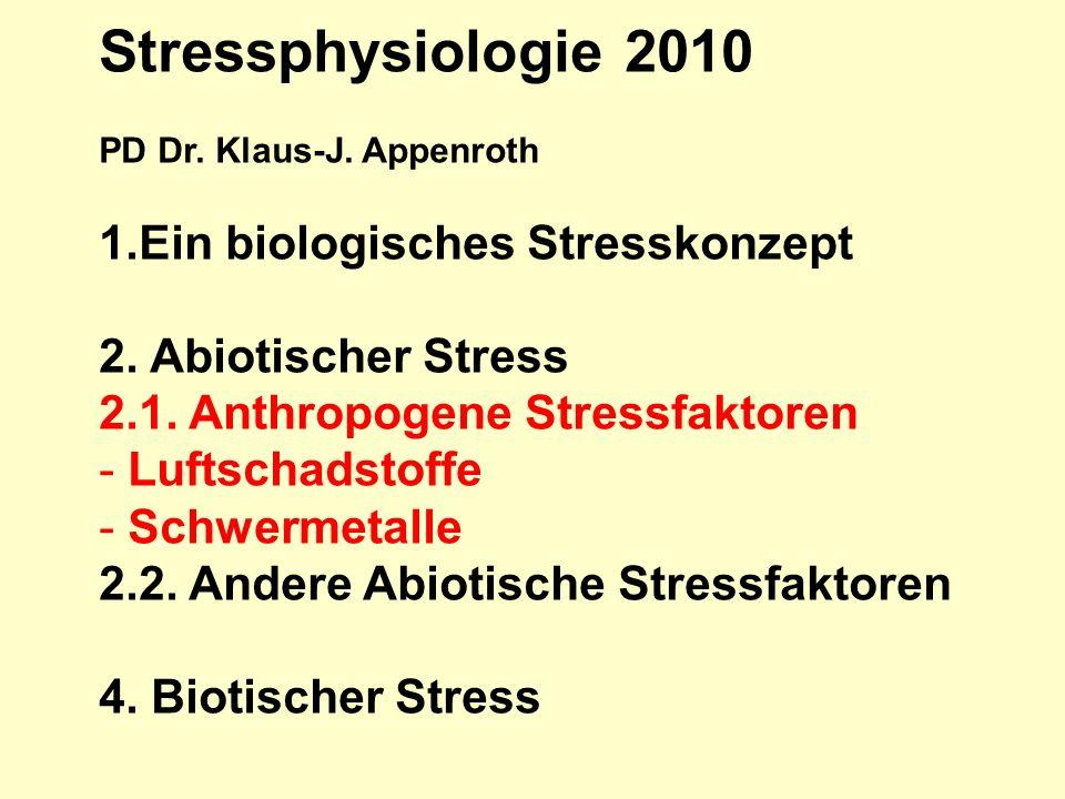 Stressphysiologie 2010 PD Dr. Klaus-J. Appenroth 1.Ein biologisches Stresskonzept 2. Abiotischer Stress 2.1. Anthropogene Stressfaktoren - Luftschadst