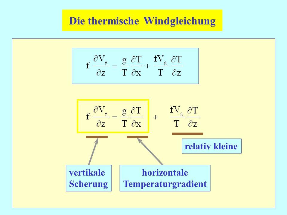vertikale Scherung horizontale Temperaturgradient Die thermische Windgleichung relativ kleine