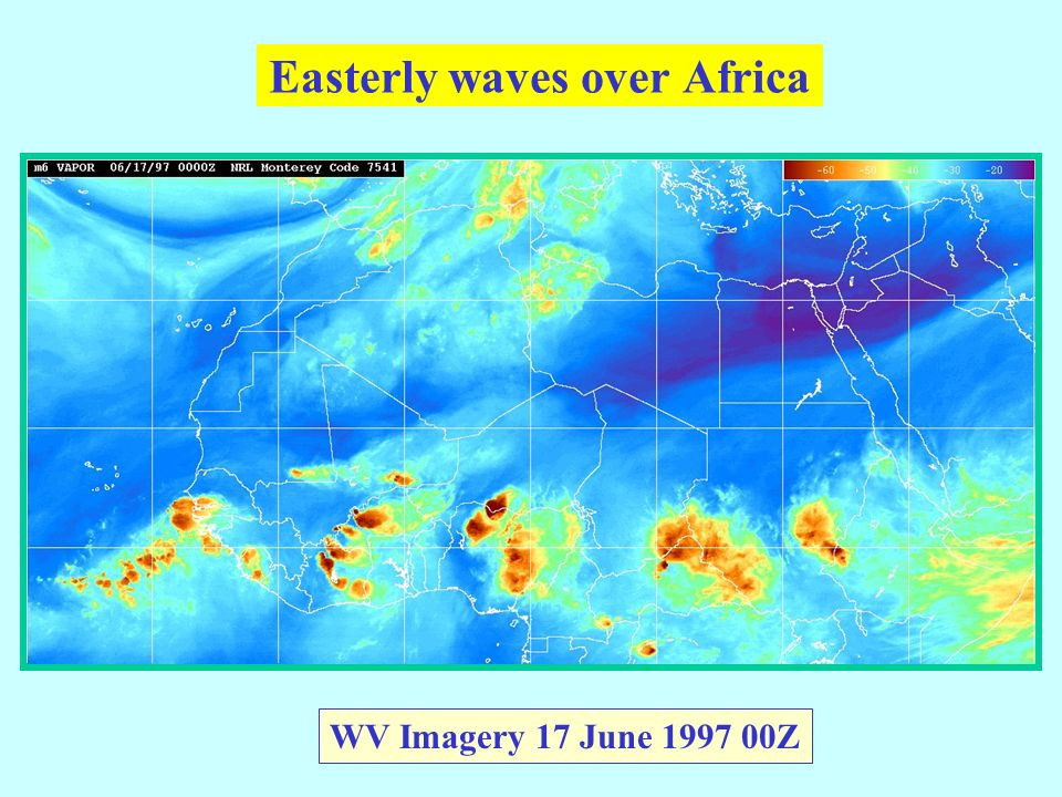 Easterly waves over Africa WV Imagery 17 June 1997 00Z