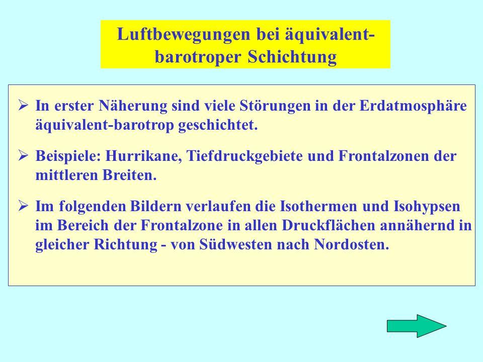 Luftbewegungen bei äquivalent- barotroper Schichtung In erster Näherung sind viele Störungen in der Erdatmosphäre äquivalent-barotrop geschichtet. Bei