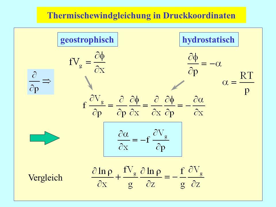 geostrophischhydrostatisch Vergleich Thermischewindgleichung in Druckkoordinaten